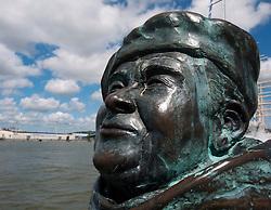 Detail of bronze sculpture of singer Evert Axel Taube at Lilla Bommen harbour in Gothenburg Sweden