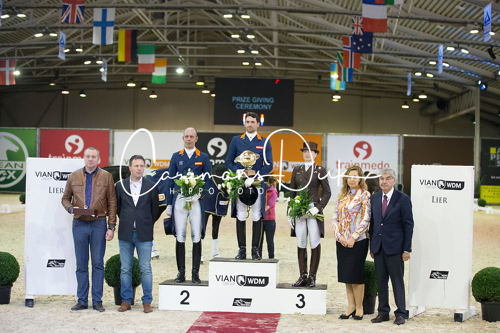 Podium GP, Visser Tommie, (NED), Minderhoud Hans Peter, (NED), Logutenkova Inna, (UKR)<br /> Grand Prix Freestyle Test<br /> CDI 4* Azelhof Lier 2015<br /> © Hippo Foto - Leanjo de Koster