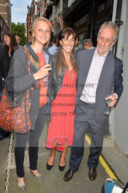 Left to right, LADY BELLA SOMERSET, EMMA HANBURY and COUNT TONY BROMOVSKY at a private view of photographs by Jolyon Fenwick 'The Zero Hours Panoramas' 100 Years On: Views From The Parapet of The Somme held at Sladmore Contemporary, 32 Bruton Place, London on 30th June 2016.