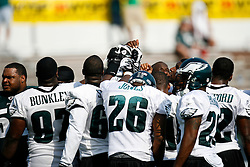 Philadelphia Eagles players in a huddle during the Philadelphia Eagles NFL training camp in Bethlehem, Pennsylvania at Lehigh University on Saturday August 1st 2009. (Photo by Brian Garfinkel)