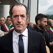 LONGARONE, ITALY - OCTOBER 09:Ê President of Regione Veneto Luca Zaia arrives for the remembrance for the Vajont victims on October 9, 2013 in Longarone, Italy. Today is the 50th anniversary of the Vajont disaster, which occurred on 9th October 1963, and is the worst landslide disaster in European history with 2000 people killed.