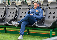 Sunderland Manager Lee Johnson is seating in the dog out before the game the EFL Sky Bet League 1 match between Plymouth Argyle and Sunderland at Home Park, Plymouth, England on 1 May 2021.