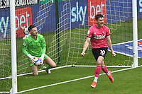 Football - 2020 / 2021 Sky Bet Championship - Swansea City vs Derby County - Liberty Stadium<br /> <br /> Tom Lawrence Derby County celebrates scoring his team's first goal as Freddie Woodman Swansea City fetches the ball from the back of the net<br /> <br /> COLORSPORT/WINSTON BYNORTH
