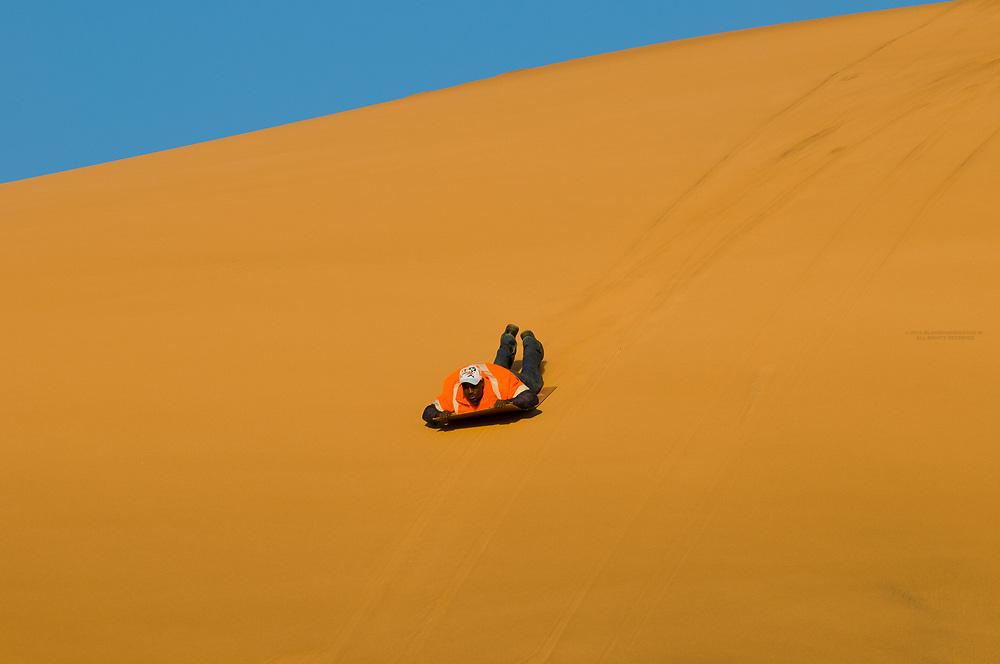 Sandboarding, Swakopmund Dunes, Swakopmund, Namib Desert, Namibia