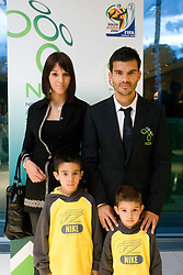 Aleksandar Radosavljevic with his wife and two children at official presentation of Slovenian National Football team for World Cup 2010 South Africa, on May 21, 2010 in Congress Center Brdo at Kranj, Slovenia. (Photo by Vid Ponikvar / Sportida)