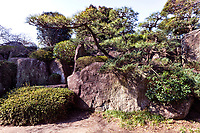 Chokokuji Stone Garden - Chokoku-ji is a vast temple compound of Rinazai sect of Zen Buddhism in Saitama, just north of Tokyo. Besides its hidden Zen Garden there are massive boulder gardens on the temple grounds.  It was once associated with the Ashikaga and Tokugawa  families and is now a part of Kenchoji Kamakura branch of Rinzai.  Rather than a mere tourist attraction, it is an active temple and monastery despite the fact that it is a very attractive place with landscaped Japanese gardens, an impresive gate with carved wooden bas reliefs.  Behind the main hall there is an expansive Zen garden, though it is rarely open to visitors but can be seen from the side of the building.