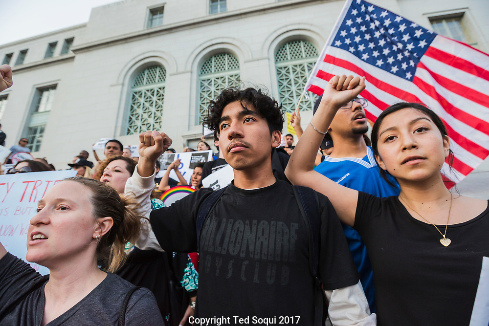 """Thousands of """"Dreamers"""" and DACA supporters march in downtown LA after Trump reminded the DACA act. The March started at Olvera Street and ended at LA City Hall."""