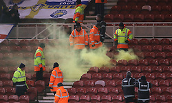 A flare's been set off in the stands, with stewards trying to control the incident during the Sky Bet Championship match at the Riverside Stadium, Middlesbrough.