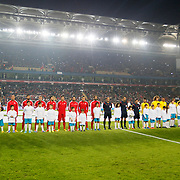 Turkey's and Brazil's players during their a international friendly soccer match Turkey betwen Brazil at Sukru Saracoglu Arena in istanbul November 12, 2014. Photo by Aykut AKICI/TURKPIX