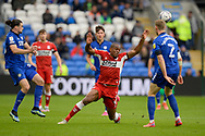 Uche Ikpeazu (9) of Middlesbrough battles for possession during the EFL Sky Bet Championship match between Cardiff City and Middlesbrough at the Cardiff City Stadium, Cardiff, Wales on 23 October 2021.