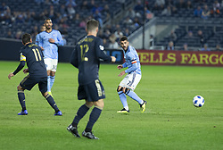 October 31, 2018 - New York, New York, United States - David Villa (7) of NYCFC pases the ball during knockout round game between NYCFC & Philadelphia Union at Yankees stadium NYCFC won 3 - 1 (Credit Image: © Lev Radin/Pacific Press via ZUMA Wire)