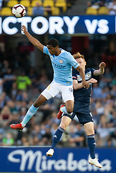 February 23, 2019 - Melbourne, VIC, U.S. - MELBOURNE, VIC - FEBRUARY 23: Melbourne City forward Shayon Harrison (9) heads the ball at round 20 of the Hyundai A-League Soccer between Melbourne City FC and Melbourne Victory on February 23, 2019 at Marvel Stadium, VIC. (Photo by Speed Media/Icon Sportswire) (Credit Image: © Speed Media/Icon SMI via ZUMA Press)
