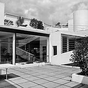 Poissy, France, 2002: View of terrace at fisst floor, Savoie house (1929) at street of Villers - Le Corbusier arch - . Photographs by Alejandro Sala,(Historical archive AS)