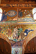 Byzantine mosaics at the Palatine Chapel ( Capella Palatina ) Norman Palace Palermo, Sicily, It .<br /> <br /> If you prefer you can also buy from our ALAMY PHOTO LIBRARY  Collection visit : https://www.alamy.com/portfolio/paul-williams-funkystock/byzantine-art-antiquities.html . Type -    Palatine     - into the LOWER SEARCH WITHIN GALLERY box. Refine search by adding background colour, place, museum etc<br /> <br /> Visit our BYZANTINE MOSAIC PHOTO COLLECTION for more   photos  to download or buy as prints https://funkystock.photoshelter.com/gallery-collection/Roman-Byzantine-Art-Artefacts-Antiquities-Historic-Sites-Pictures-Images-of/C0000lW_87AclrOk