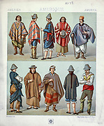Ancient Indigenous American clothing from Geschichte des kostüms in chronologischer entwicklung (History of the costume in chronological development) by Racinet, A. (Auguste), 1825-1893. and Rosenberg, Adolf, 1850-1906, Volume 1 printed in Berlin in 1888