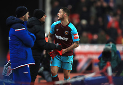West Ham United's Marko Arnautovic has an argument with the crowd as he is substituted off the pitch during the Premier League match at the bet365 Stadium, Stoke.