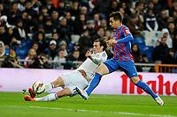 Real Madrid´s Gareth Bale and Levante UD´s  during 2014-15 La Liga match between Real Madrid and Levante UD at Santiago Bernabeu stadium in Madrid, Spain. March 15, 2015. (ALTERPHOTOS/Luis Fernandez)