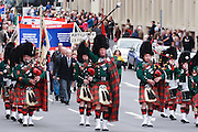 Pipe Band marching in 2007 ANZAC day parade - Hobart, Tasmania <br /> <br /> Editions:- Open Edition Print / Stock Image