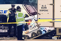 © Licensed to London News Pictures . FILE PICTURE DATED 23/05/2017 as Manchester prepares to mark a year since the Manchester Arena terror attack . Manchester, UK. Bomb disposal robot . Police and other emergency services are seen near the Manchester Arena after Salman Abedi murdered 22 and injured dozens more at an Ariana Grande concert at Manchester Arena. Photo credit : Joel Goodman/LNP