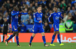 """Leicester City's Jamie Vardy celebrates scoring his side's second goal of the game during the Premier League match at King Power Stadium, Leicester. PRESS ASSOCIATION Photo. Picture date: Saturday September 23, 2017. See PA story SOCCER Leicester. Photo credit should read: Mike Egerton/PA Wire. RESTRICTIONS: EDITORIAL USE ONLY No use with unauthorised audio, video, data, fixture lists, club/league logos or """"live"""" services. Online in-match use limited to 75 images, no video emulation. No use in betting, games or single club/league/player publications."""