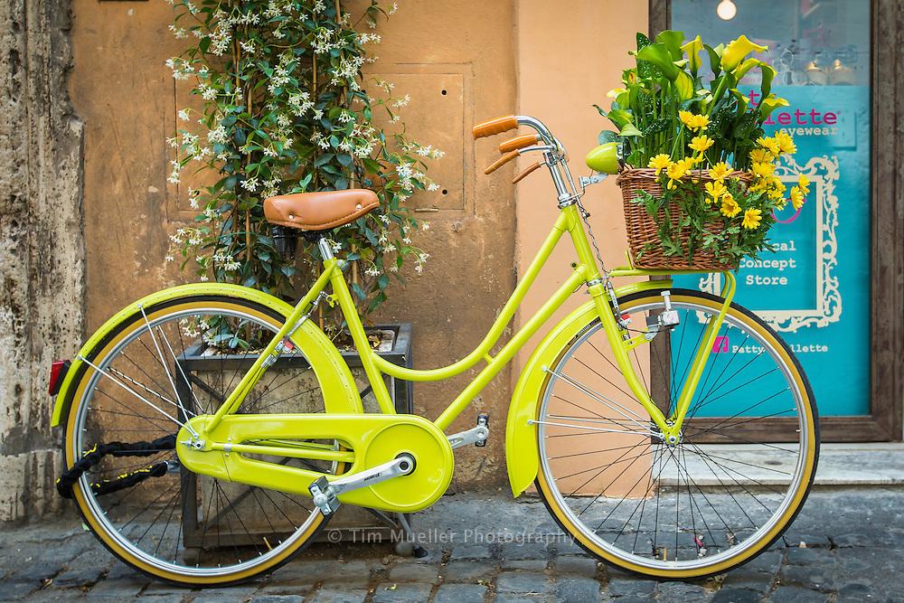 Bike along Via dei Coronari in Rome, Italy.