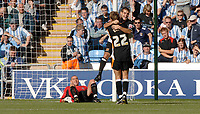 Photo: Henry Browne.<br /> Coventry City v Hull City. Coca Cola Championship.<br /> 24/09/2005.<br /> Damien Delaney of Hull celebrates his goal as Coventry keeperStephen Bywater looks on.