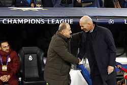 November 6, 2019, Madrid, Spain: Galatasaray's coach Fatih Terim and Real Madrid CF's Zinedine Zidane salute during the UEFA Champions League match between  Real Madrid and Galatasaray SK at the Santiago Bernabeu in Madrid. (Credit Image: © Manu Reino/SOPA Images via ZUMA Wire)