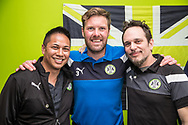 Forest Green Rovers Scott Laird(3) with the Chicago based supporters  during the EFL Sky Bet League 2 match between Forest Green Rovers and Chesterfield at the New Lawn, Forest Green, United Kingdom on 21 April 2018. Picture by Shane Healey.