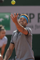 France's Jo-Wilfried Tsonga playins during the men's singles first round match on day two of The Roland Garros 2019 French Open tennis tournament in Paris on May 27, 2019. Photo by ABACAPRESS.COM