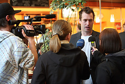 Tomaz Razingar at an interview at departure of Slovenian national team to Hockey IIHF WC 2008 in Halifax, Canada,  on April 27, 2008 in Airport Joze Pucnik, Brnik, Slovenia.  (Photo by Vid Ponikvar / Sportal Images)