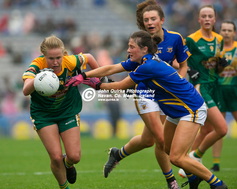 15-09-19. Meath v Tipperary - TG4 LGFA All-Ireland Intermediate Championship Final at Croke Park.<br /> Stacey Grimes, Meath and Lucy Spillane, Tipperary.<br /> Photo: John Quirke / www.quirke.ie<br /> ©John Quirke Photography, Unit 17, Blackcastle Shopping Cte. Navan. Co. Meath. 046-9079044 / 087-2579454.