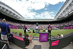 01.08.2012, Wimbledon, London, GBR, Olympia 2012, Tennis, im Bild Novak Djokovic fights past Lleyton Hewitt into the quarters. // during Tennis, at the 2012 Summer Olympics at Wimbledon, London, United Kingdom on 2012/08/01. EXPA Pictures © 2012, PhotoCredit: EXPA/ Pixsell/ Sanjin Strukic    ATTENTION - OUT OF CRO, SRB, MAZ, BIH and POL *****