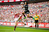 Hull FC right wing Mahe Fonua (2) catches the high ball  during the Ladbrokes Challenge Cup Final 2017 match between Hull RFC and Wigan Warriors at Wembley Stadium, London, England on 26 August 2017. Photo by Simon Davies.
