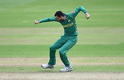 Pakistan's Junaid Khan celebrates taking the wicket of Sri Lanka's Thisara Perera during the ICC Champions Trophy, Group B match at Cardiff Wales Stadium.