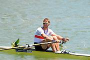Seville. Andalusia. SPAIN. Men's Single Sculls, Silver Medalist, GER M1X Marcel HACKER 2013 FISA European Rowing Championship.  Guadalquivir River.  Sunday   02/06/2013  [Mandatory Credit. Peter Spurrier/Intersport]