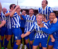 Photo: Alan Crowhurst.<br />Welling United v Clevedon Town. The FA Cup Qualifying. 28/10/2006. Clevedon players celebrate victory.