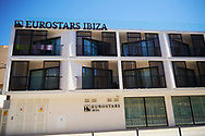 Detail view of Eurostar Ibiza Hotel at the Figueretes beach on August 21, 2020 in Ibiza, Spain. Almost all Schengen countries recommend not traveling to Spain due to COVID -19. The quarantine imposed by the United Kingdom has been decisive, many establishments have not opened and the average occupancy is less than 50%.