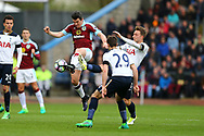 Joey Barton of Burnley gets to the ball ahead of Christian Eriksen of Tottenham Hotspur. Premier League match, Burnley v Tottenham Hotspur at Turf Moor in Burnley , Lancs on Saturday 1st April 2017.<br /> pic by Chris Stading, Andrew Orchard sports photography.