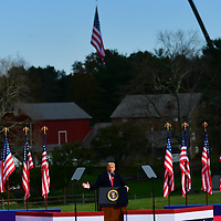NEWTOWN, PA - OCTOBER 31: President Donald Trump addresses supporters during a rally on October 31, 2020 in Newtown, Pennsylvania. With the election only three days away, Trump is holding four rallies across Pennsylvania today, as he vies to recapture the Keystone State's vital 20 electoral votes.  In 2016, he carried Pennsylvania by only 44,292 votes out of more than 6 million cast, less than a 1 percent differential, becoming the first Republican to claim victory here since 1988. (Photo by Mark Makela/Getty Images)