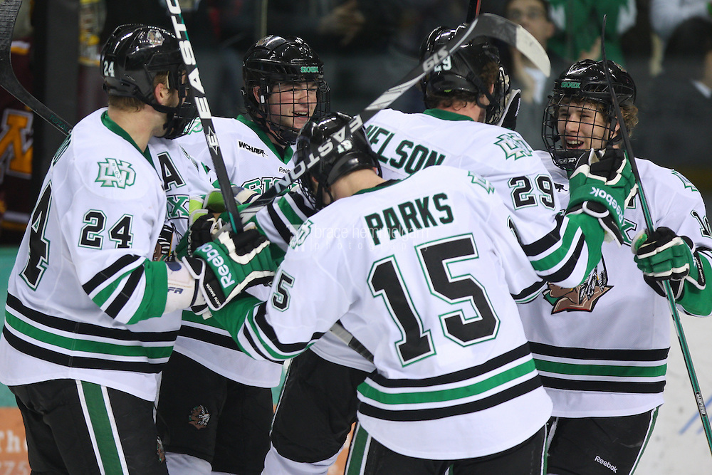 13 January 2012: North Dakota Fighting Sioux forward Brock Nelson (29) and Corban Knight (10) against Minnesota Golden Gophers at Ralph Engelstad Arena in Grand Forks, ND. North Dakota defeated Minnesota 2-1.
