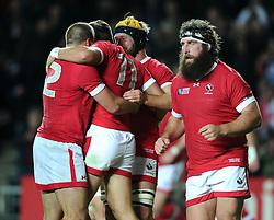 DTH van der merwe of Canada celebrates his try  - Mandatory byline: Joe Meredith/JMP - 07966386802 - 01/10/2015 - Rugby Union, World Cup - Stadium:MK -Milton Keynes,England - France v Canada - Rugby World Cup 2015
