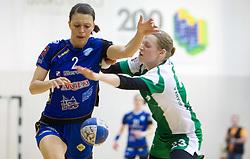 Mirjana Gojkovic of Krim vs Nusa Skutnik of Krka during handball match between ZRK Krka and RK Krim Mercator in Final of Slovenian Women Cup, on April 3, 2011, in Sports Arena Zagorje, Slovenia. (Photo by Vid Ponikvar / Sportida)