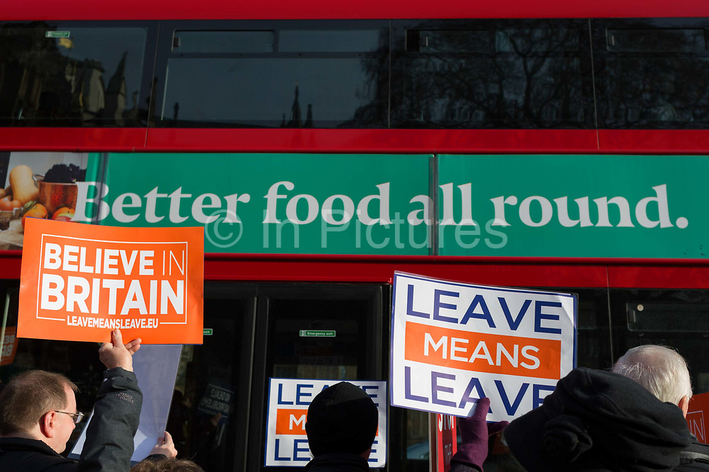 As Prime Minister Theresa May prepares to sell her Brexit deal ahead of five days of debate and eventual vote in parliament, Brexiteers protest their ideals outside the House of Commons, on 4th December 2018, in London, England. This week will be a vital step for May's Premiership and the UK's Brexit status.