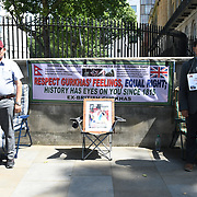 Downing Street 23 July 2021. Gurkhas on a 24-hour hunger strike to demand the British government to restore their dignity and equal rights. The Gurkhas feel betrayed by the United Kingdom government outside Downing Street, London, United Kingdom.
