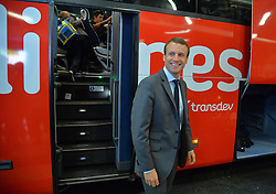 French Minister of the Economy, Industry and the Digital Sector Emmanuel Macron during a visit to the Paris-Gallieni international bus station to meet with travellers and observe the available infrastructures and services, in Paris, France on July 30, 2015. Macron yesterday met with road transport professionals in the prospect of the opening of intercity bus lines as part of the recently adopted bill for growth, activity and equal economic opportunity. Photo by Christian Liewig/ABACAPRESS.COM