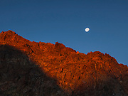 Tioga Crest, Yosemite.  Setting Moon and Alpenglow from Rising Sun