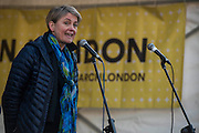 Yvette Cooper speaks in Traflagar Square - Women's March on London - a grassroots movement of women has organised marches around the world to assert the 'positive values that the politics of fear denies' on the first day of Donald Trump's Presidency. Their supporters include: Amnesty International, Greenpeace, ActionAid UK, Oxfam GB, The Green Party, Pride London, Unite the Union, NUS, 50:50 Parliament, Stop The War Coalition, CND.