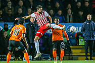 Brentford defender Yoann Barbet (29) leaps for the ball during the The FA Cup fourth round match between Barnet and Brentford at The Hive Stadium, London, England on 28 January 2019.