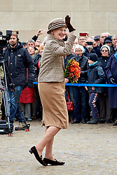 Queen Margrethe of Denmark is present at the 100th anniversary of World War 1 termination at the memorial park in Aarhus, Denmark. 11 Nov 2018 Pictured: Queen Margrethe. Photo credit: Krestine Havemann/Aller/MEGA TheMegaAgency.com +1 888 505 6342