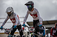 #108 (SIMPSON Molly) CAN and #49 (TUCHSCHERER Daina) CAN (GT) at Round 3 of the 2020 UCI BMX Supercross World Cup in Bathurst, Australia.